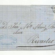 Sellos: ENVUELTA CIRCULADA 1873 DE SANTANDER A RIVADEO LUGO CON FECHADOR LLEGADA. Lote 137144986