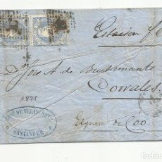Sellos: CIRCULADA 1871 DE SANTANDER A CORRALES ESTACION FERROCARRIL. Lote 137146262