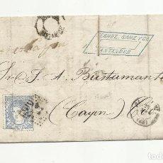 Sellos: CIRCULADA Y ESCRITA 1872 DE SANTANDER A CAYON COO. Lote 137147138