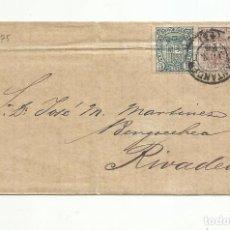 Sellos: CIRCULADA 1875 DE SANTANDER A RIVADEO . Lote 138773650