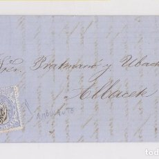Sellos: CARTA ENTERA DE BARCELONA A ALBACETE. MATASELLOS AMBULANTE BARCELONA - VALENCIA. NEGRO. 1872. RARO. Lote 139070126