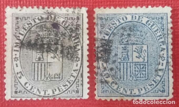 ESPAÑA. I REPÚBLICA, 1874. ESCUDO DE ESPAÑA. SERIE COMPLETA, 2 VALORES (Nº 141-142 EDIFIL) (Sellos - España - Amadeo I y Primera República (1.870 a 1.874) - Usados)
