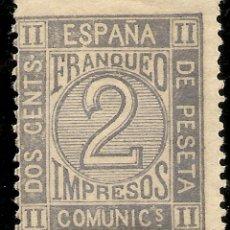 Sellos: ESPAÑA EDIFIL 116* MH 2 CÉNTIMOS GRIS CORONA REAL,CIFRAS AMADEO I 1872 NL193. Lote 141029118