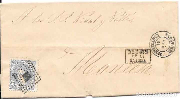 EDIFIL 107. ENVUELTA DE MONTBLANCH A MANRESA. DESPUES DE LA SALIDA. 18-MAY-1872 (Sellos - España - Amadeo I y Primera República (1.870 a 1.874) - Cartas)