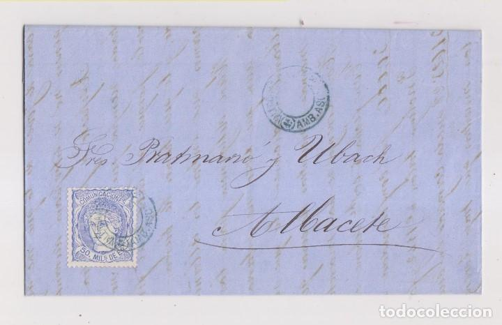 CARTA DE BARCELONA A ALBACETE. MATRONA. AMBULANTE VALENCIA AZUL. RARO. 1870 (Sellos - España - Amadeo I y Primera República (1.870 a 1.874) - Cartas)