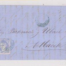 Sellos: CARTA DE BARCELONA A ALBACETE. MATRONA. AMBULANTE VALENCIA AZUL. RARO. 1870. Lote 142977694