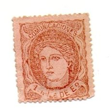 Sellos: ESPAÑA 1870 EDIFIL 102- 1M.- VIOLETA SOBRE SALMON. Lote 143339466