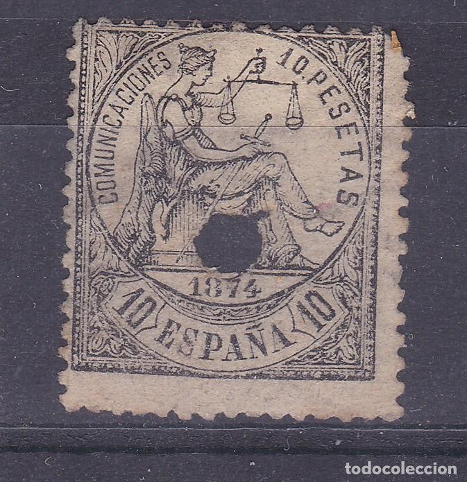 VV2-CLÁSICOS ALEGORÍA JUSTICIA . EDIFIL 152T TALADRO (Sellos - España - Amadeo I y Primera República (1.870 a 1.874) - Usados)