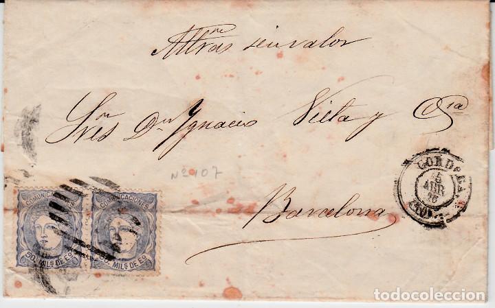 CARTA COMPLETA CON PAREJA DE SELLOS NUM 107 DE ALVAREZ Y OTIN EN CÓRDOBA 1870 (Sellos - España - Amadeo I y Primera República (1.870 a 1.874) - Cartas)