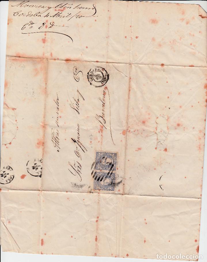 Sellos: CARTA COMPLETA CON PAREJA DE SELLOS NUM 107 DE ALVAREZ Y OTIN EN CÓRDOBA 1870 - Foto 2 - 143840154