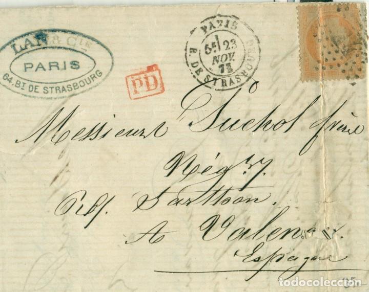 CARTA CIRCULADA DESDE PARÍS A VALENCIA EN 1873. (Sellos - España - Amadeo I y Primera República (1.870 a 1.874) - Cartas)