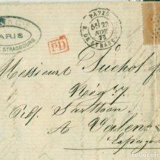 Sellos: CARTA CIRCULADA DESDE PARÍS A VALENCIA EN 1873.. Lote 144392510