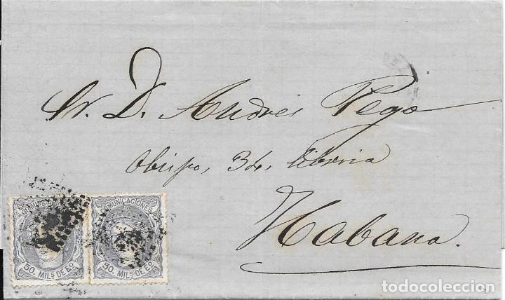 MATRONA. EDIFIL 107. ENVUELTA CIRCULADA DESDE BARCELONA A LA HABANA - CUBA. 1872 (Sellos - España - Amadeo I y Primera República (1.870 a 1.874) - Cartas)