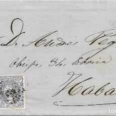 Sellos: MATRONA. EDIFIL 107. ENVUELTA CIRCULADA DESDE BARCELONA A LA HABANA - CUBA. 1872. Lote 145173402