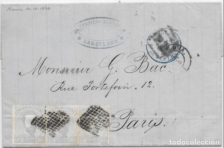 EDIFIL 122. AMADEO I. ENVUELTA CIRCULADA DE BARCELONA A PARIS. 1872 (Sellos - España - Amadeo I y Primera República (1.870 a 1.874) - Cartas)