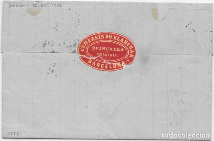 Sellos: EDIFIL 122. AMADEO I. ENVUELTA CIRCULADA DE BARCELONA A PARIS. 1872 - Foto 2 - 145714002