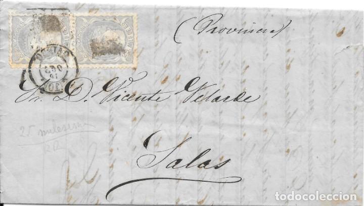 EDIFIL 106 PAREJA. ENVUELTA CIRCULADA DE OVIEDO A SALAS. 1871. CATALOGO + 120 € (Sellos - España - Amadeo I y Primera República (1.870 a 1.874) - Cartas)