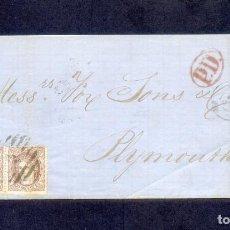 Sellos: 1870. PRECIOSA Y RARA ENVUELTA CIRCULADA CON 2 SELLOS DE 200 MILÉSIMAS DE LA CORUÑA A PLYMOUTH.. Lote 148349774