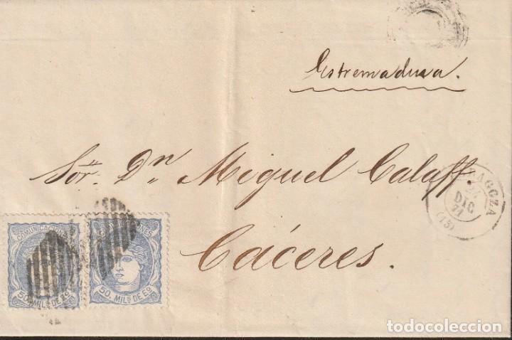 ZARAGOZA - DOBLE PORTE - 1871 - 24 DICIEMBRE - MATASELLO DOBLE ROMBO REJILLA AMBULANTE (Sellos - España - Amadeo I y Primera República (1.870 a 1.874) - Cartas)
