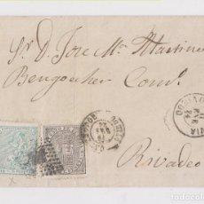 Sellos: ENVUELTA DE NAVIA, ASTURIAS, A RIBADEO. 1874. CASTROPOL. IMPUESTO DE GUERRA. Lote 150494590