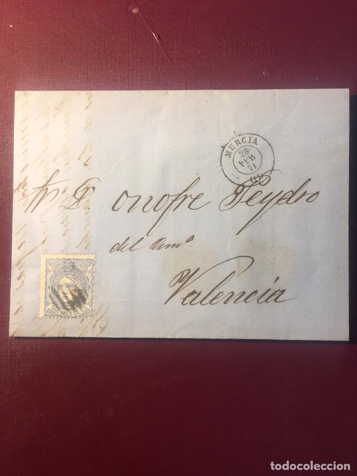 CARTA FILATELICA,(MURCIA 1871). (Sellos - España - Amadeo I y Primera República (1.870 a 1.874) - Cartas)