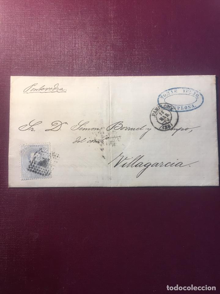 CARTA FILATELICA,( PAMPLONA 1873). (Sellos - España - Amadeo I y Primera República (1.870 a 1.874) - Cartas)