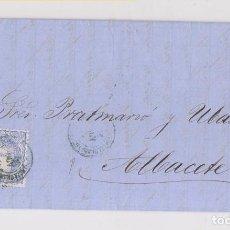 Sellos: CARTA ENTERA DE BARCELONA A ALBACETE. RARO MATASELLOS AMBULANTE EN AZUL. 1870. MATRONA.. Lote 153437606