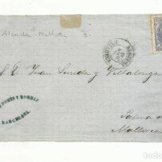 Sellos: FRONTAL CIRCULADA 1870 DE BARCELONA A ALCUDIA PALMA DE MALLORCA BALEARES. Lote 153447934