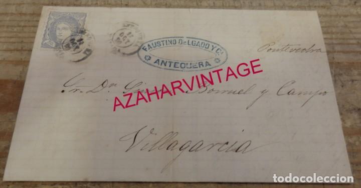 ANTEQUERA, 1870, CARTA COMERCIAL FAUSTINO DELGADO Y CIA, CIRCULADA A VILLAGARCIA (Sellos - España - Amadeo I y Primera República (1.870 a 1.874) - Cartas)