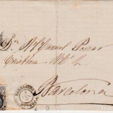 Sellos: ENVUELTA CON SELLO NUM. 107 DE BARBASTRO -HUESCA - A BARCELONA 1870. Lote 156723606