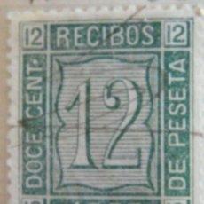 Sellos: SELLO FISCAL RECIBOS AMADEO I 1873, 12 CÉNTIMOS Nº19. Lote 156973538