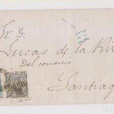 Sellos: CARTA DE VIGO A SANTIAGO. DESPUÉS DE LA SALIDA. 1874. IMPUESTO DE GUERRA. Lote 158463606