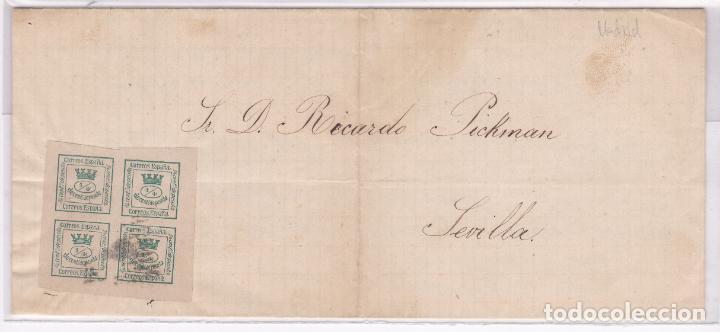 CARTA DE MADRID A SEVILLA, SELLO Nº 130 MATASELLO ROMBO DE PUNTOS (Sellos - España - Amadeo I y Primera República (1.870 a 1.874) - Cartas)