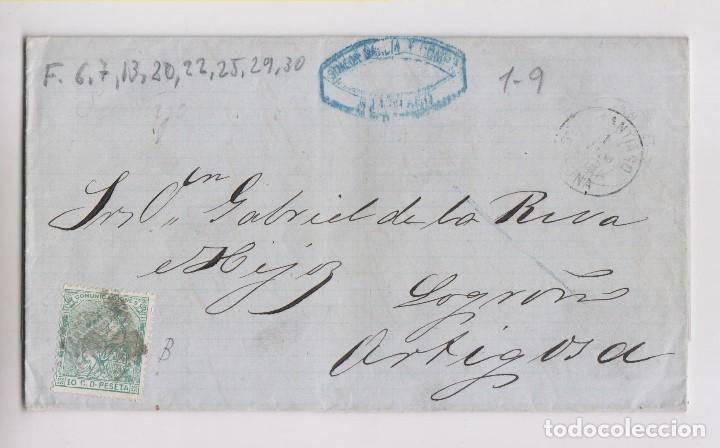 CARTA ENTERA. SANTIAGO, GALICIA. 1873 (Sellos - España - Amadeo I y Primera República (1.870 a 1.874) - Cartas)