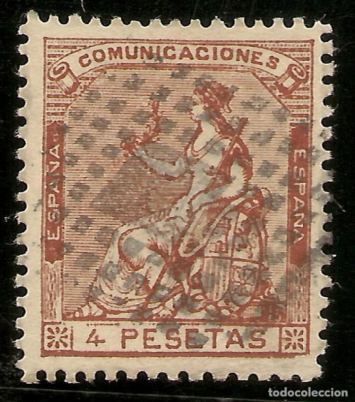 ESPAÑA EDIFIL 139 (º) 4 PESETAS CASTAÑO CORONA Y ALEGORIA ESPAÑA 1873 NL121 (Sellos - España - Amadeo I y Primera República (1.870 a 1.874) - Usados)