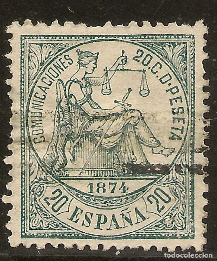 ESPAÑA EDIFIL 146 (º) 20 CÉNTIMOS VERDE ALEGORÍA DE LA JUSTICIA 1874 NL811 (Sellos - España - Amadeo I y Primera República (1.870 a 1.874) - Usados)