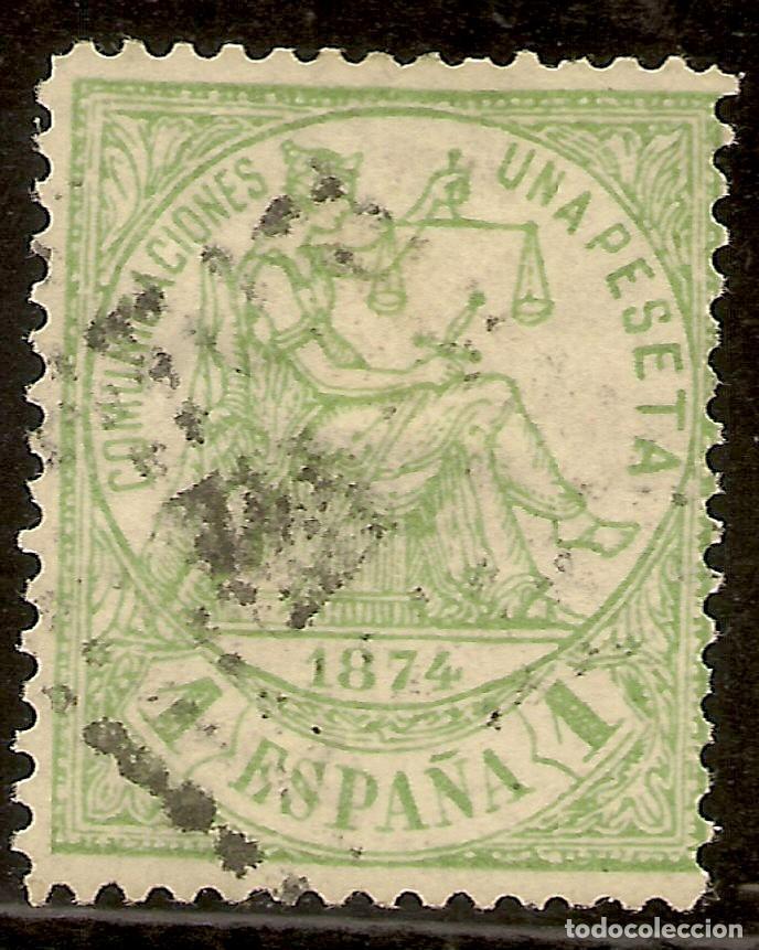ESPAÑA EDIFIL 150 (º) 1 PESETA VERDE ALEGORÍA DE LA JUSTICIA 1874 NL1314 (Sellos - España - Amadeo I y Primera República (1.870 a 1.874) - Usados)