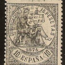 Sellos: ESPAÑA EDIFIL 152 (º) 10 PESETAS NEGRO ALEGORÍA DE LA JUSTICIA 1874 NL894. Lote 160413094