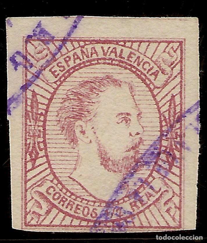 ESPAÑA EDIFIL 159 (º) TIPO I 1/2 REAL ROSA CARLOS VII 1874 NL916 (Sellos - España - Amadeo I y Primera República (1.870 a 1.874) - Usados)