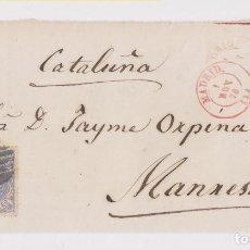 Sellos: FRONTAL. MADRID A MANRESA, BARCELONA. 1870. FECHADOR ROJO. Lote 161838446