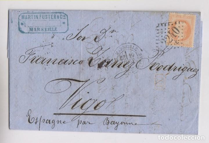 CARTA ENTERA DE MARSELLA A VIGO, GALICIA. 1869 (Sellos - España - Amadeo I y Primera República (1.870 a 1.874) - Cartas)
