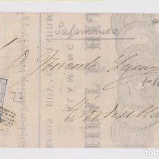 Sellos: RARA ENVUELTA DE FACTURA. SALAMANCA. 1872. CUARTILLOS. VER INTERIOR. Lote 164635842