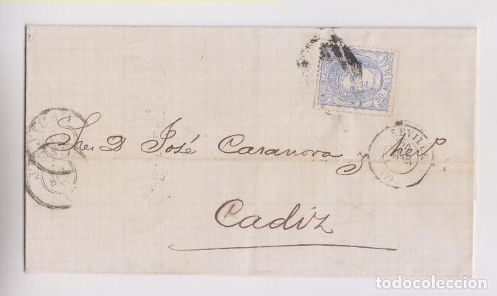 ENVUELTA DE SEVILLA A CÁDIZ. 1871. MATRONA. (Sellos - España - Amadeo I y Primera República (1.870 a 1.874) - Cartas)