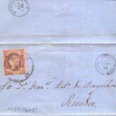 Sellos: AÑO 1862 EDIFIL 58 ENVUELTA MATASELLOS RUEDA DE CARRETA 60 VIGO. Lote 166771726