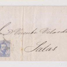 Sellos: CARTA ENTERA DE OVIEDO A SALAS, ASTURIAS. 1873. Lote 167065864