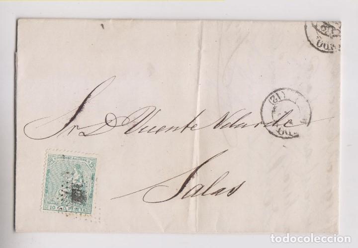 CARTA ENTERA DE OVIEDO A SALAS, ASTURIAS. 1873 (Sellos - España - Amadeo I y Primera República (1.870 a 1.874) - Cartas)