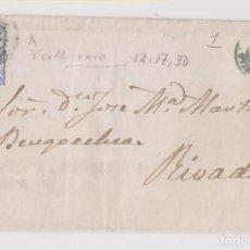 Sellos: ENVUELTA. LUARCA, ASTURIAS. 1870. RARO FECHADOR VERDE. MATRONA. A RIBADEO. Lote 167073892