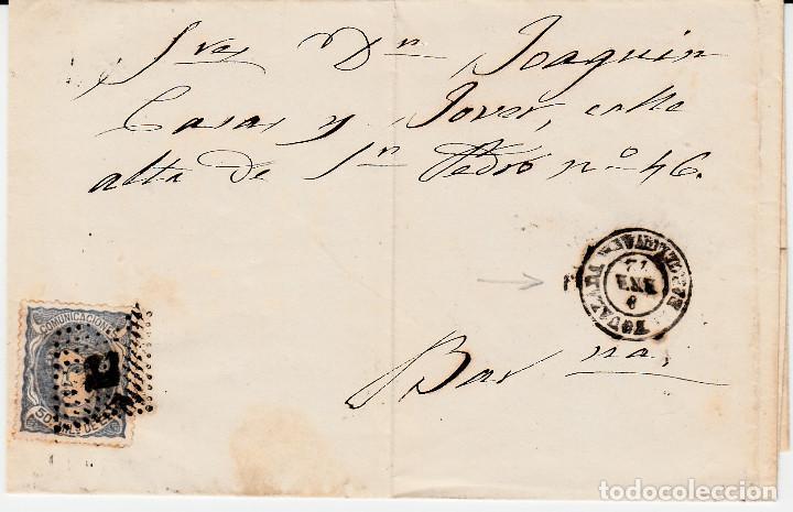ENVUELTA CON SELLO NUM. 107 Y MATASELLOS DE IGUALADA Y ROMBO DE PUNTOS 1872 (Sellos - España - Amadeo I y Primera República (1.870 a 1.874) - Cartas)