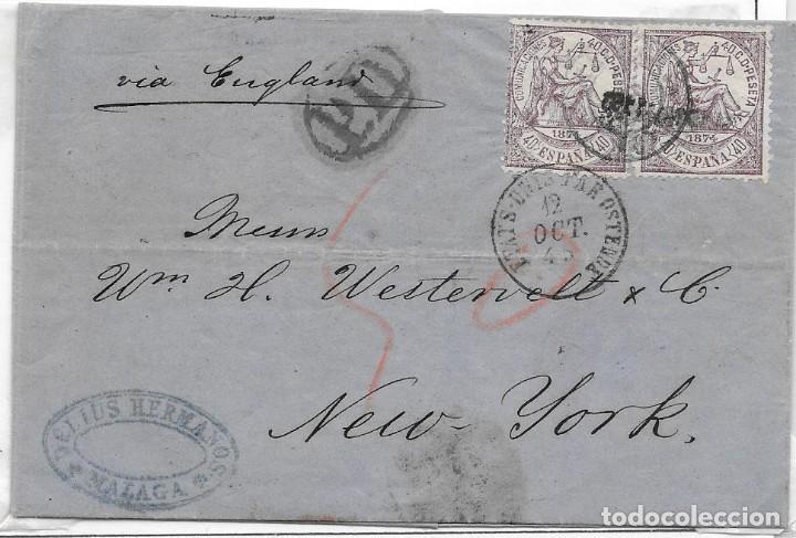 1874. EDIFIL Nº 148 PAREJA. ENVUELTA CIRCULADA DE MALAGA A NUEVA YORK. OCT-1874 (Sellos - España - Amadeo I y Primera República (1.870 a 1.874) - Cartas)