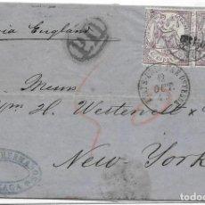 Sellos: 1874. EDIFIL Nº 148 PAREJA. ENVUELTA CIRCULADA DE MALAGA A NUEVA YORK. OCT-1874. Lote 169821252